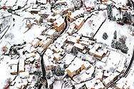 France, Languedoc Roussillon, Cevennes, Lozère, hiver, Saint Germain de Calberte, vue aérienne