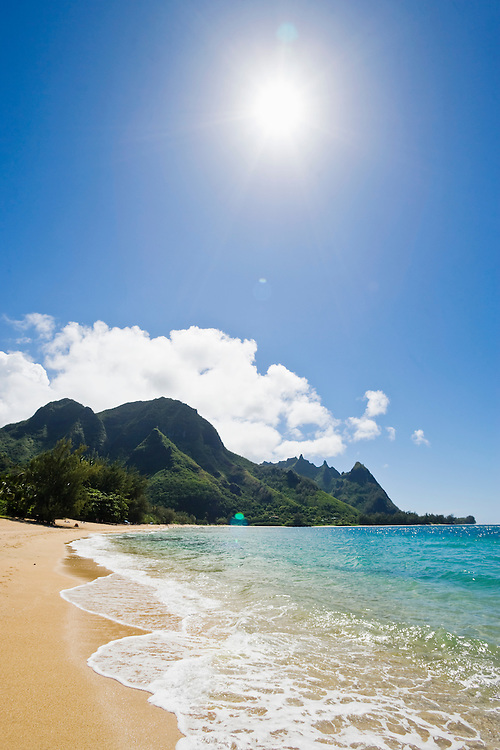 View of Haena Beach looking southwest at the Na Pali Coast, Kauai, Hawaii