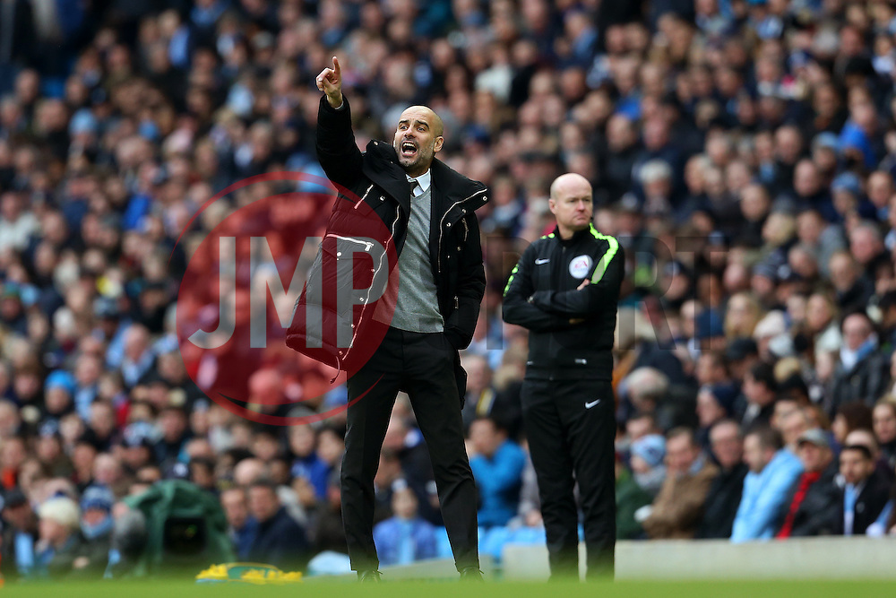 Manchester City manager Josep Guardiola points - Mandatory by-line: Matt McNulty/JMP - 05/02/2017 - FOOTBALL - Etihad Stadium - Manchester, England - Manchester City v Swansea City - Premier League