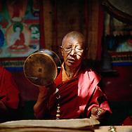 Chöd practice in the old temple - Pishu nunnery, Zanskar, Jammu-Kashmir, India, 2014
