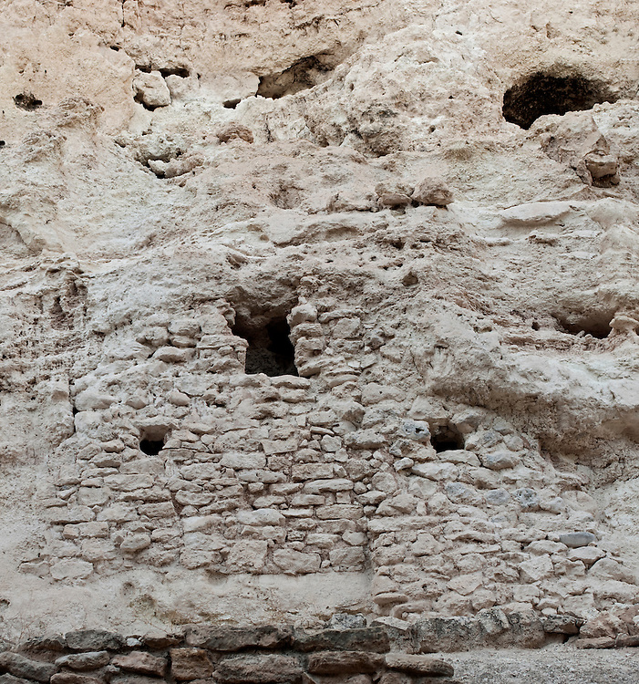 Montezuma Castle National Monument, Arizona. View of this five-story, twenty-room cliff dwelling near Flagstaff, built in the 12th century by the Sinagua Indians.
