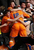 Photo: Steve Bond/Richard Lane Photography. <br />Leicester City v Sheffield Wednesday. Coca-Cola Championship. 26/04/2008. Leon Clarke runs to the Wednesday fans after scoring