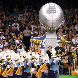 September 9, 2010; New Orleans, LA, USA;  The New Orleans Saints celebrate their Super Bowl XLIV championship with a float on the field prior to the NFL Kickoff season opener between the Minnesota Vikings and the New Orleans Saints at the Louisiana Superdome. Mandatory Credit: Derick E. Hingle
