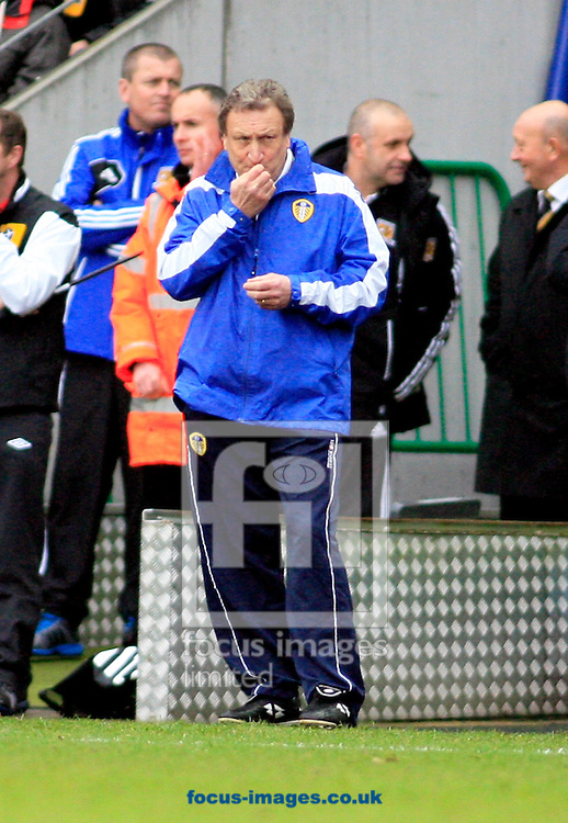 Picture by Richard Gould/Focus Images Ltd +447814 482222 .29/12/2012.Neil Warnock manager of Leeds United applies lip balm during the npower Championship match at the KC Stadium, Kingston upon Hull.