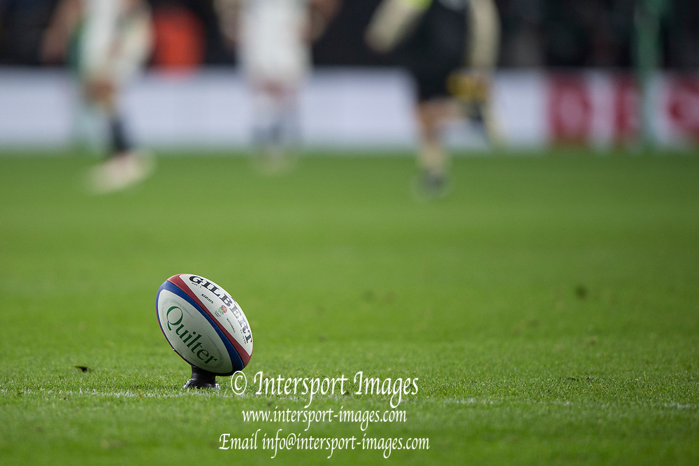 Twickenham, United Kingdom, Saturday, 24th  November 2018, RFU, Rugby, Stadium, England, Penalty Kick, Ball Positioned, Quilter Autumn International, England vs Australia, © Peter Spurrier