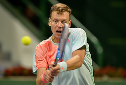 DOHA, Jan. 7, 2017  Tomas Berdych of the Czech Republic returns to Andy Murray of Britain during the men's singles semifinal of the ATP Qatar Open tennis tournament at the Khalifa International Tennis Complex in Doha, capital of Qatar, on Jan. 6, 2017. Tomas Berdych lost 0-2.  wll) (Credit Image: © Nikku/Xinhua via ZUMA Wire)