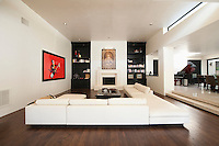 White seating in spacious luxury apartment