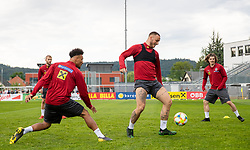 02.06.2018, Woerthersee Stadion, Klagenfurt, AUT, ÖFB Nationalteam, Training, im Bild v.l. Karim Onisiwo (AUT), Marko Arnautovic (AUT), Marcel Sabitzer (AUT) // f.l. Karim Onisiwo of Austria Marko Arnautovic of Austria Marcel Sabitzer of Austria during a Trainingssession of Austrian National Footballteam at the Woerthersee Stadion in Klagenfurt, Austria on 2018/06/02. EXPA Pictures © 2019, PhotoCredit: EXPA/ Johann Groder