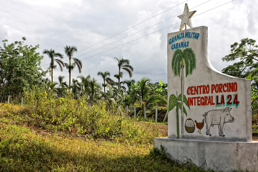 Military farm sign near Cabanas, Artemisa, Cuba.