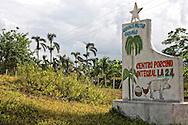 Military farm sign near Cabanas, Artemisa, Cuba.
