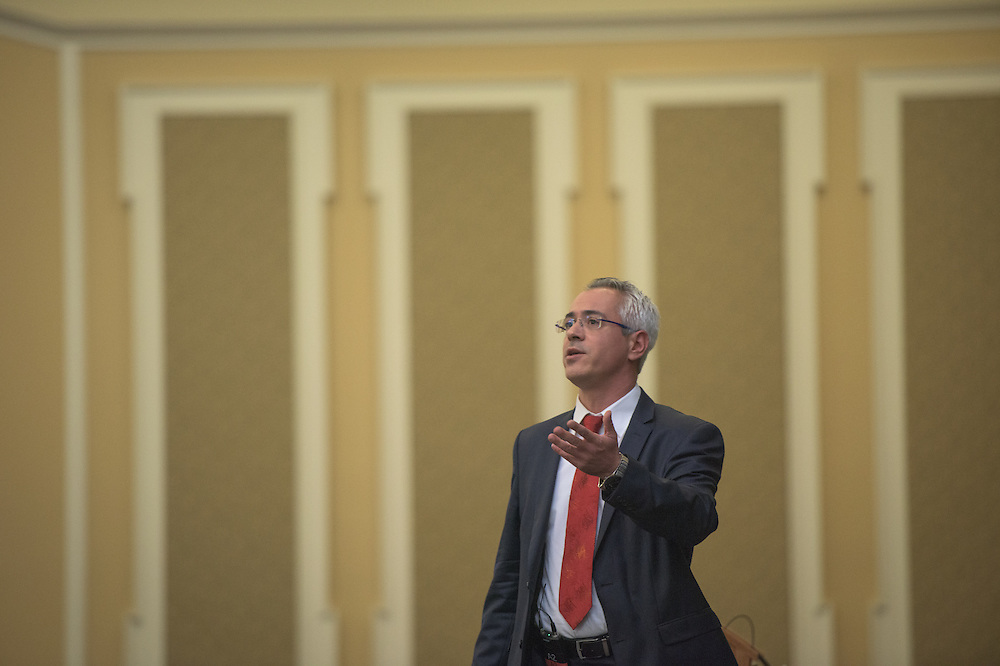 Dr. Nick Panagopoulos of the University of Alabama, speaks on mentoring during the 2016 Schey Sales Symposium held in Baker Center on November 3, 2016.