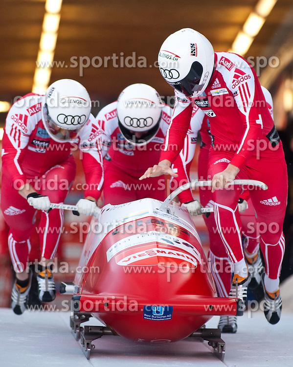 16.01.2011, Igls, Innsbruck, AUT, FIBT World Cup, Herren, Vierer Bob, im Bild, Baumann Gregor, Kuettner Thomas, Egger Juerg Und Bloechliger Patrick (SUI 1) // during FIBT Bob and Skeleton World Cup, Men's, 4 Men Bob at Innsbruck-Igls, Austria on 16/1/2011. EXPA Pictures © 2011, PhotoCredit: EXPA/ J. Groder
