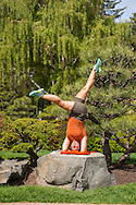 yoga headstand spring people flowers and ducks