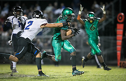 November 17, 2017 - Delray Beach, Florida, U.S. - Atlantic Eagles running back Shelley Singletary (5) gets Park Vista Cobras Jake Collins (2) to score a touchdown in the second quarter to give the Eagles a 14-0 lead in Delray Beach, Florida on November 17, 2017. (Credit Image: © Allen Eyestone/The Palm Beach Post via ZUMA Wire)