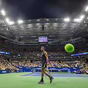 2019 US Open Tennis Tournament- Day Ten.  A panoramic general view of Rafael Nadal of Spain as a shot from Diego Schwartzman of Argentina is long during the Men's Singles Quarter-Finals match on Arthur Ashe Stadium during the 2019 US Open Tennis Tournament at the USTA Billie Jean King National Tennis Center on September 4th, 2019 in Flushing, Queens, New York City.  (Photo by Tim Clayton/Corbis via Getty Images)