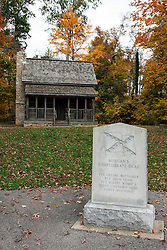 Confederate memorial and log cabin, Battle of Corydon Park, Corydon, Indiana, United States of America