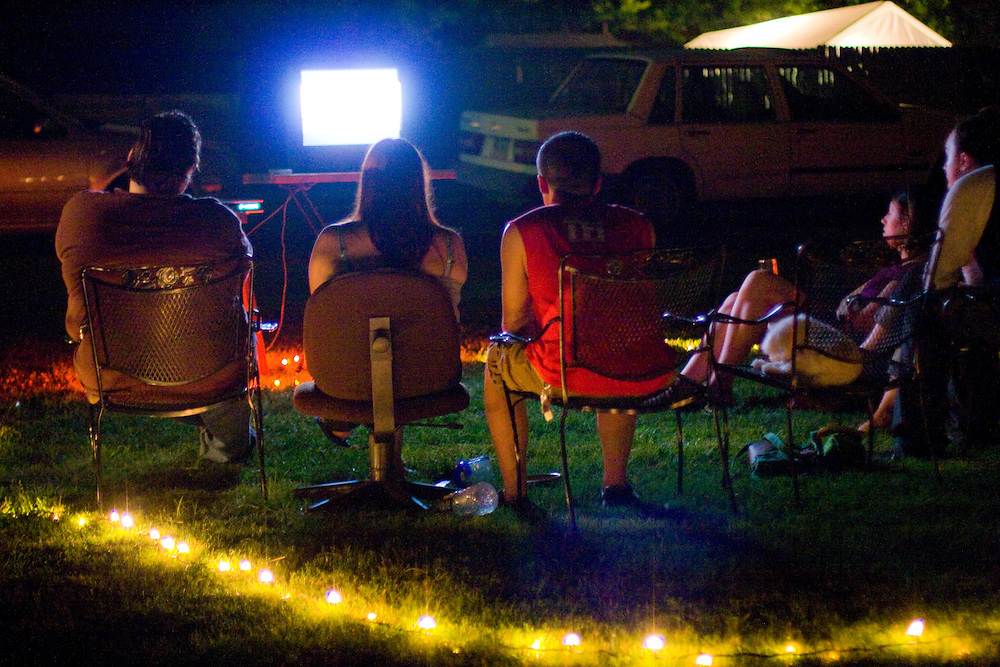 Outdoor movie screening in the Belmont neighborhood of Charlottesville Virginia.