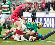 Scarlets' Tadhg Beirne scores his sides third try<br /> <br /> Photographer Simon King/Replay Images<br /> <br /> EPCR Champions Cup Round 3 - Scarlets v Benetton Rugby - Saturday 9th December 2017 - Parc y Scarlets - Llanelli<br /> <br /> World Copyright © 2017 Replay Images. All rights reserved. info@replayimages.co.uk - www.replayimages.co.uk