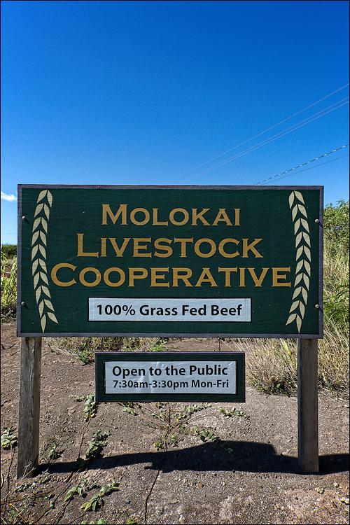The Molokai Livestock Co-op sign in Ho'olehua, Molokai.  10.22.15