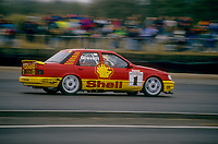 #1 Robb Gravett  Trakstar Motorsport Ford Sierra Sapphire during Round 1of the 1991 British Touring Car Championship at Silverstone, Towcester, Northamptonshire, United Kingdom. 1st April 1991, World Copyright Peter Taylor/PSP. Copy of publication required for printed pictures.