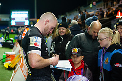 Stuart Hogg of Exeter Chiefs signs autographs after the match - Mandatory byline: Patrick Khachfe/JMP - 07966 386802 - 10/11/2019 - RUGBY UNION - Sandy Park - Exeter, England - Exeter Chiefs v Bristol Bears - Gallagher Premiership