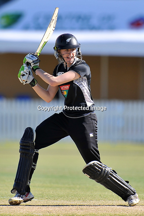 Amy Satterthwaite follows through after playing into the off side for the White Ferns during action in Game 6 (ODI) of the Rose Bowl Trophy Cricket played between Australia and New Zealand at Alan Border Field in Brisbane (Australia) ~ Monday 14May 2011 ~ Photo : Steven Hight (AURA Images) / Photosport