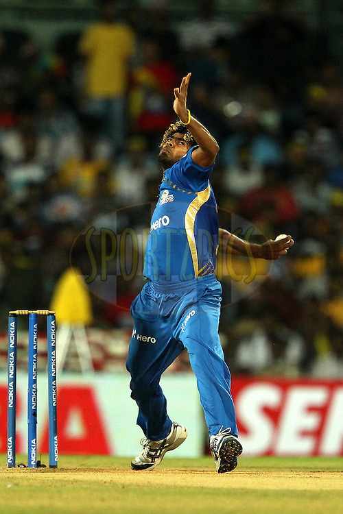 Lasith Malinga during match 3 of the NOKIA Champions League T20 ( CLT20 )between the Chennai Superkings and the Mumbai Indians held at the M. A. Chidambaram Stadium in Chennai , Tamil Nadu, India on the 24th September 2011..Photo by Ron Gaunt/BCCI/SPORTZPICS