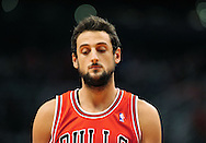 Nov. 14, 2012; Phoenix, AZ, USA; Chicago Bulls guard Marco Belinelli (8) reacts on the court  during the game against the Phoenix Suns at the US Airways Center. The Bulls defeated the Suns 112-106 in overtime. Mandatory Credit: Jennifer Stewart-USA TODAY Sports.