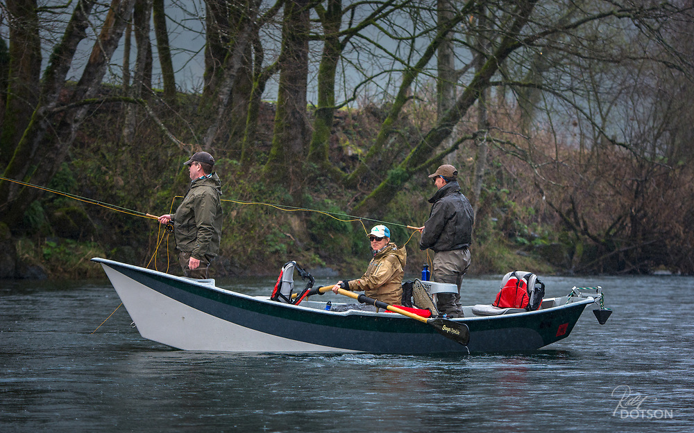 Guide Kate Taylor drifts through drizzle and a light fog in western Oregon to chase steelhead.