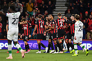 Steve Cook (3) of AFC Bournemouth celebrates his goal  during the EFL Cup 4th round match between Bournemouth and Norwich City at the Vitality Stadium, Bournemouth, England on 30 October 2018.