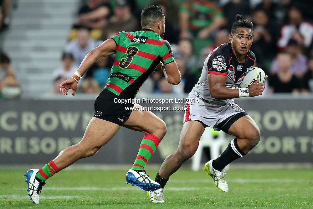PERTH, AUSTRALIA - JUNE 06: Solomone Kata of the Warriors runs with the ball under pressure from Dylan Walker of the Rabbitohs during the 2015 NRL Round 13 Rugby League match between the Vodafone Warriors and The Rabbitohs at NIB Stadium, Perth, Australia on June 6, 2015. (Copyright photo Will Russell/www.Photosport.co.nz)