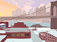Brooklyn Bridge and clearing winter storm