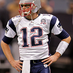2009 November 30:  New England Patriots quarterback Tom Brady (12) on the field prior to kickoff of a 38-17 win by the New Orleans Saints over the New England Patriots at the Louisiana Superdome in New Orleans, Louisiana.