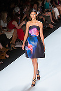 Navy strapless dress with a bright tropical fishtail print. By Monique Lhuillier at Spring 2013 Fall Fashion Week in New York.