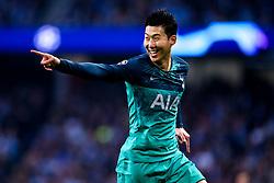 Son Heung-Min of Tottenham Hotspur celebrates scoring a goal to make it 1-1 - Mandatory by-line: Robbie Stephenson/JMP - 17/04/2019 - FOOTBALL - Etihad Stadium - Manchester, England - Manchester City v Tottenham Hotspur - UEFA Champions League Quarter Final 2nd Leg