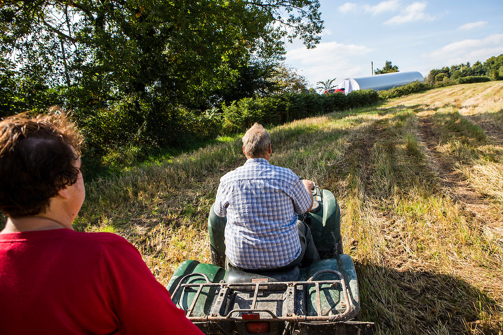 Farmers Heather and John Rogers, Alvington Court Farm see the arrival of their wind turbine. The Resilience centre, Forest of Dean. Gloucestershire.