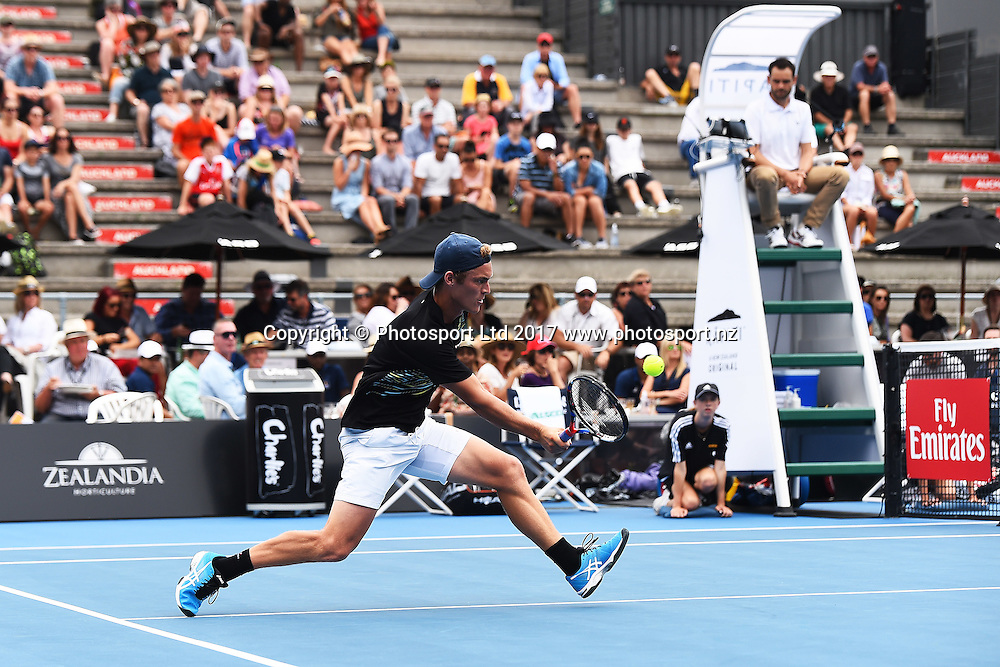 Finn Tearny during the ASB Classic ATP Mens Tournament Day 1. ASB Tennis Centre, Auckland, New Zealand. Monday 9 January 2017. ©Copyright Photo: Chris Symes / www.photosport.nz