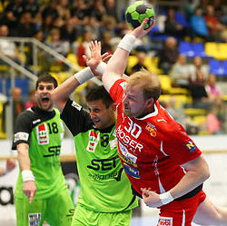 12.04.2014, BSFZ Suedstadt, Maria Enzersdorf, AUT, HLA, SG INSIGNIS Handball WESTWIEN vs Moser Medikal UHK Krems, im Bild Augustas Strazdas, (SG INSIGNIS Handball WESTWIEN, #8) und Werner Lint, (Moser Medikal UHK Krems, #30) , EXPA Pictures © 2014, PhotoCredit: EXPA/ T. Haumer