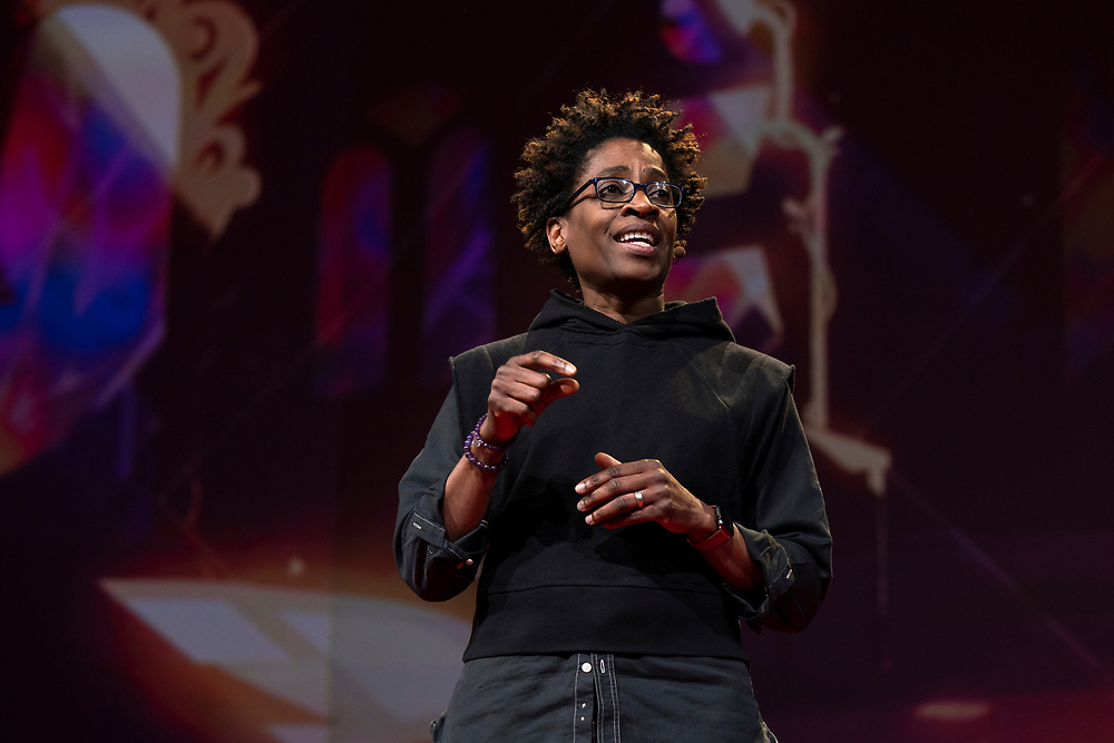Jacqueline Woodson speaks at TED2019: Bigger Than Us. April 15 - 19, 2019, Vancouver, BC, Canada. Photo: Bret Hartman / TED