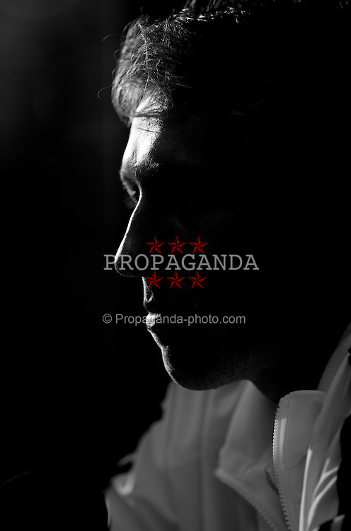 LIVERPOOL, ENGLAND - Tuesday, September 15, 2009: Liverpool's Lucas Leiva during a press conference at Anfield ahead of the UEFA Champions League Group E match against Debreceni VSC. (Photo by David Rawcliffe/Propaganda)