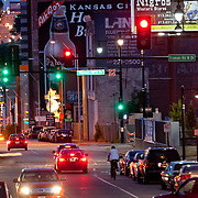 Main Street in the evening, Downtown Kansas City, Missouri.