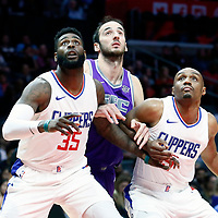12 October 2017: Sacramento Kings center Kosta Koufos (41) vies for the rebound with LA Clippers center Willie Reed (35) and LA Clippers guard C.J. Williams (9) during the LA Clippers 104-87 victory over the Sacramento Kings, at the Staples Center, Los Angeles, California, USA.