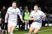 Cardiff Blues winger Owen Lane (14) looks to take the ball from his team mate during the Heineken Champions Cup match between Glasgow Warriors and Cardiff Blues at Scotstoun Stadium, Glasgow, Scotland on 13 January 2019.