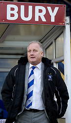 BURY, ENGLAND - New Year's Day Tuesday, January 1, 2013: Bury's manager Kevin Blackwell before the Football League One match against Tranmere Rovers at Gigg Lane. (Pic by David Rawcliffe/Propaganda)