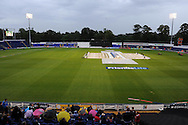 a general view as the covers go down. Friends Life T20 match, Glamorgan Dragons v Warwickshire Bears at the Swalec stadium in Cardiff, South Wales on Sunday 17th June 2012. pic by Andrew Orchard, Andrew Orchard sports photography,