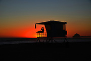 Lifeguard on Duty at Dusk Huntington Beach California