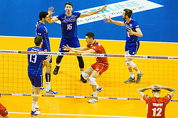 08.01.2016, Max Schmeling Halle, Berlin, GER, CEV Olympia Qualifikation, Frankreich vs Bulgarien, im Bild Jubel Pierre?Pujl (#13, Frankreich/France), Jonas?Aguenier (#1, Frankreich/France), Nicolas?Marechal (#16, Frankreich/France), Je?nia?Grebennikov (#2, Frankreich/France) und Julien?Lyneel (#11, Frankreich/France) // during 2016 CEV Volleyball European Olympic Qualification Match between France and Bulgaria at the  Max Schmeling Halle in Berlin, Germany on 2016/01/08. EXPA Pictures © 2016, PhotoCredit: EXPA/ Eibner-Pressefoto/ Wuechner<br /> <br /> *****ATTENTION - OUT of GER*****