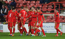 WREXHAM, WALES - Tuesday, November 17, 2015: Wales' Wesley Burns celebrates scoring the first equalising goal against Romania during the UEFA Under-21 Championship Qualifying Group 5 match at the Racecourse Ground. (Pic by David Rawcliffe/Propaganda)