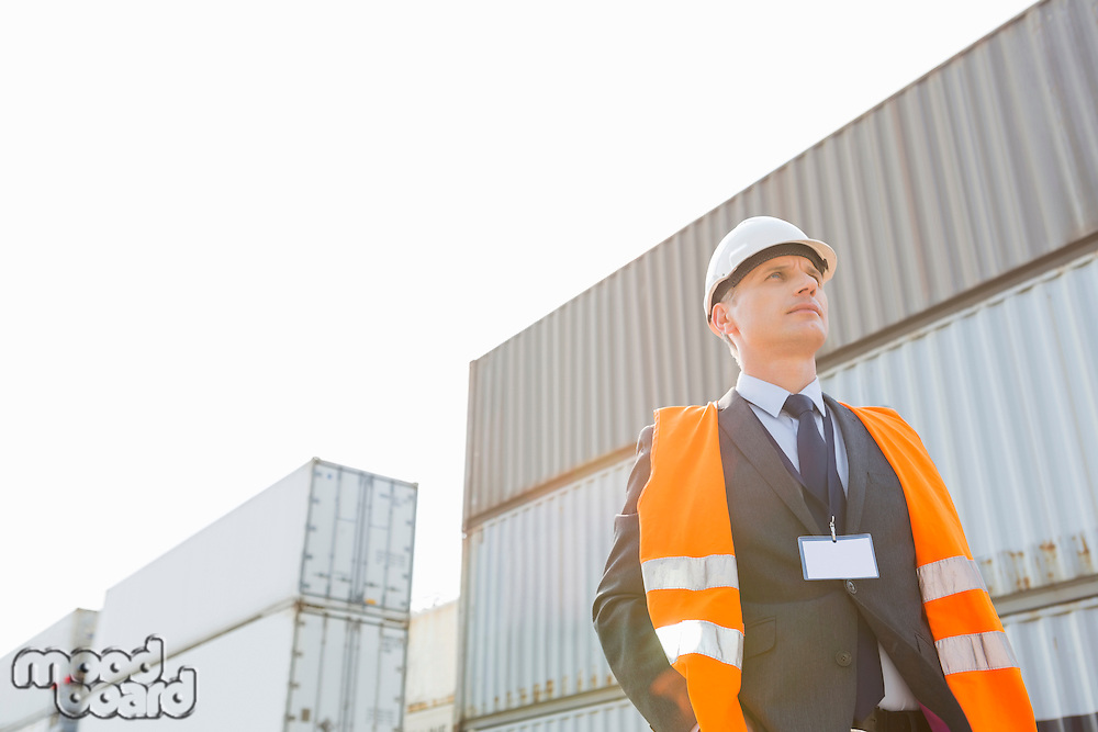 Low angle view of worker standing against cargo containers in shipping yard