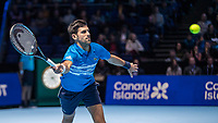 Tennis - 2019 Nitto ATP Finals at The O2 - Day One<br /> <br /> Singles Group Bjorn Borg: Novak Djokovic vs. Matteo Berrettini<br /> <br /> Novak Djokovic (Serbia) stretches to reach the passing shot<br /> <br /> COLORSPORT/DANIEL BEARHAM